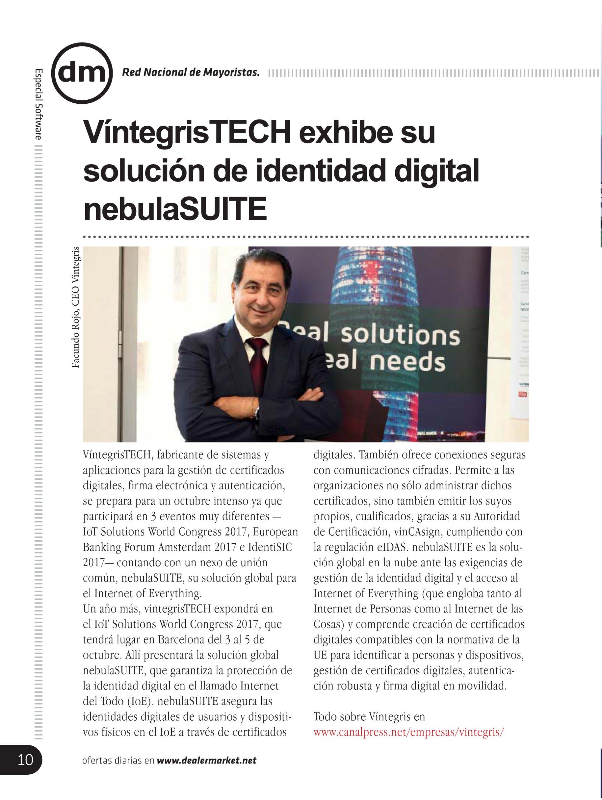 VintegrisTECH displays its nebulaSUITE digital identity solution