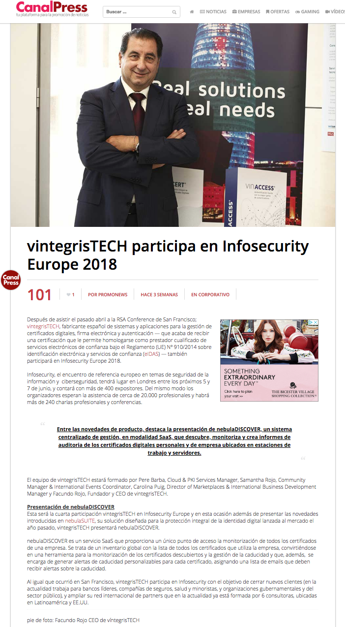 vintegrisTECH at Infosecurity Europe 2018
