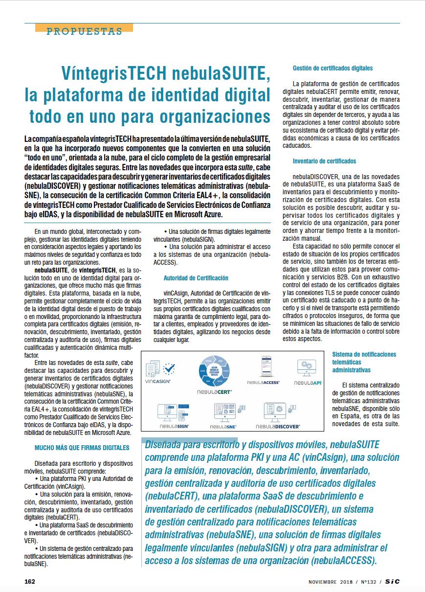 "Facundo Rojo's Article at SIC Magazine November ""nebulaSUITE platform for digital identity"""