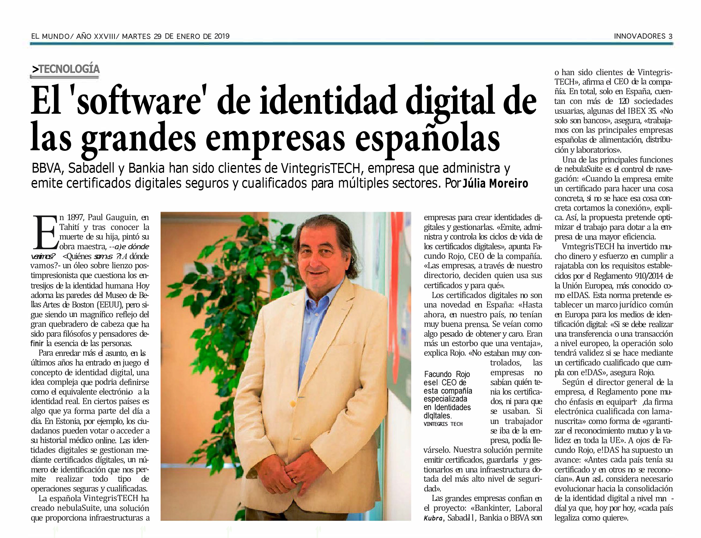 nebulaSUITE for the creation and management of digital identity_El Mundo January 2019